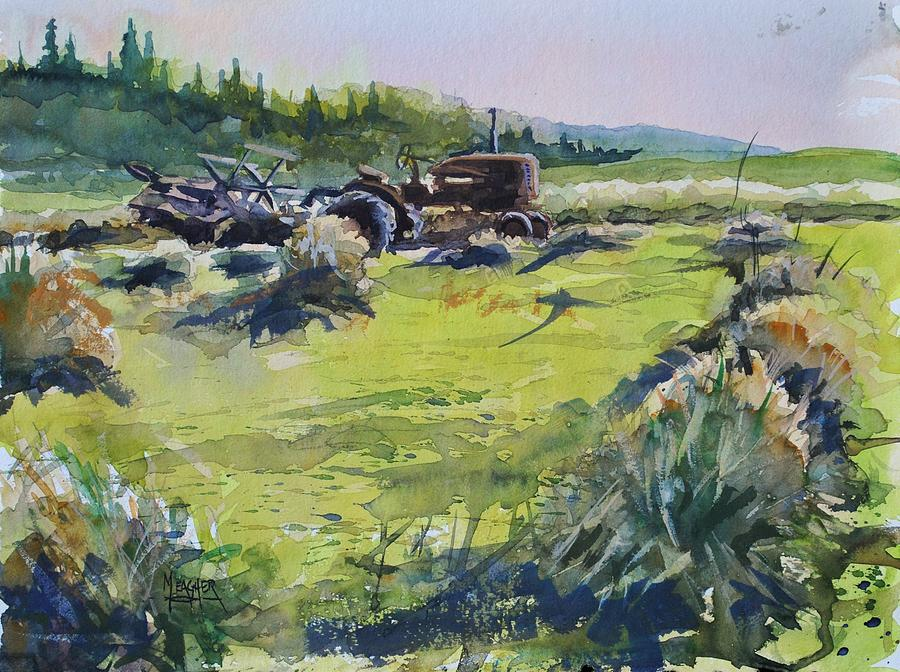 Vintage Tractor Painting - Barley Harvest by Spencer Meagher