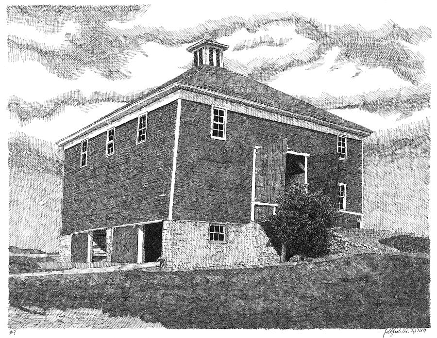 Country Drawing - Barn 7 by Joel Lueck