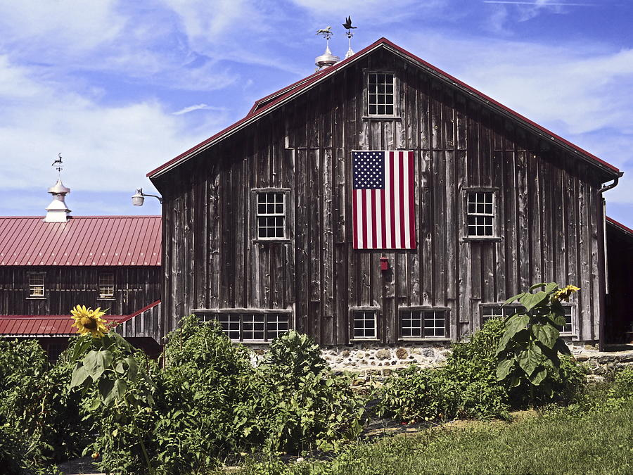 Barn And American Flag Photograph By Sally Weigand