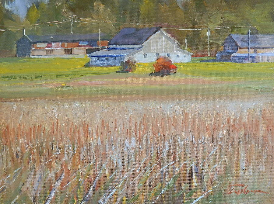 Barn Painting - Barn  And Crops by Ron Wilson