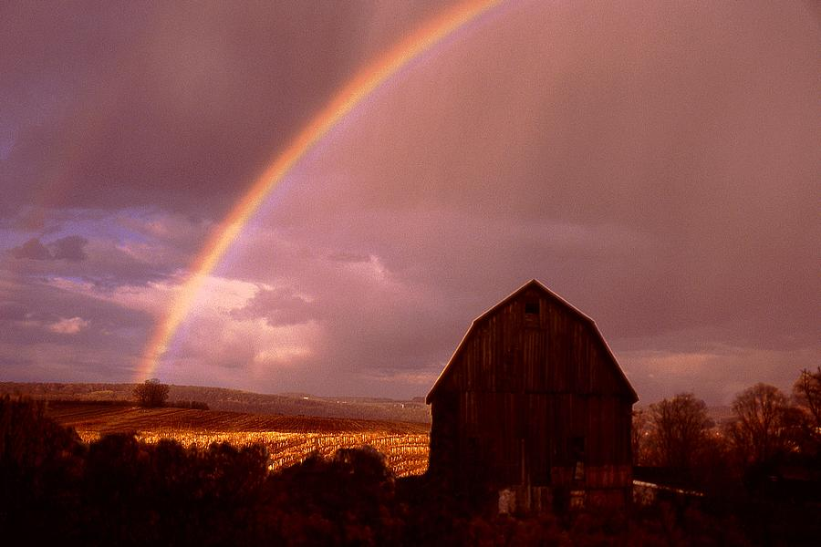 Harvest Photograph - Barn and Rainbow in Autumn by Roger Soule
