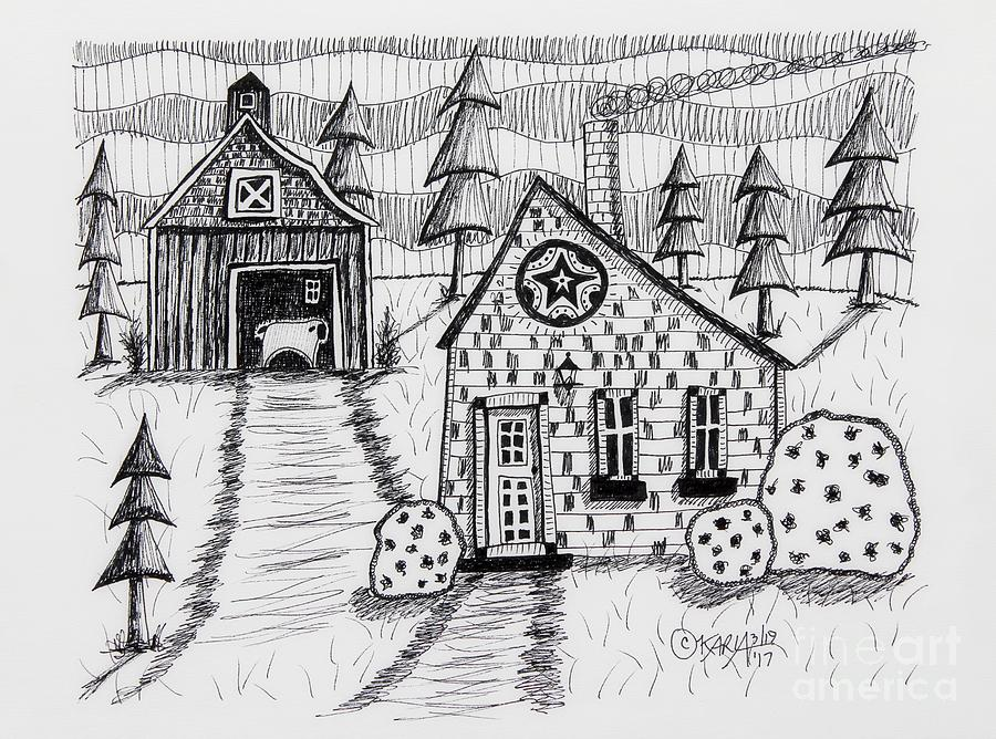 Folk Art Drawing Drawing - Barn And Sheep by Karla Gerard