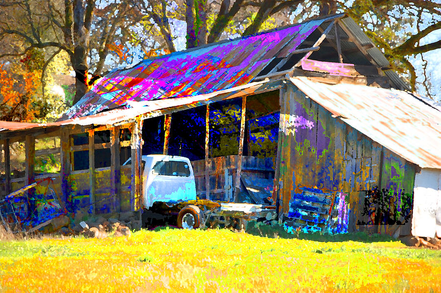 Barn And Truck Digital Art by Danielle Stephenson