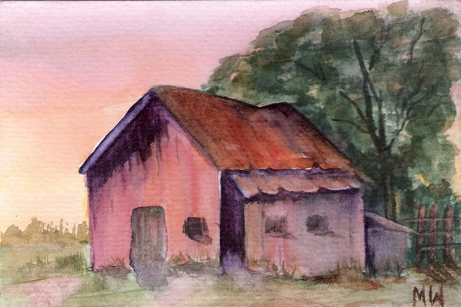 Landscape Painting - Barn At Dusk by Marsha Woods