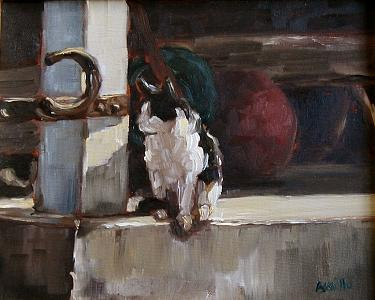 Cat Painting - Barn Cat by Kathy Busillo