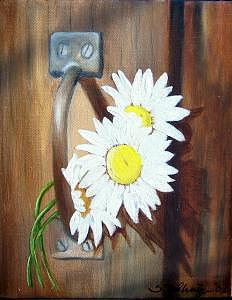 Barn Door Daisies Sold Painting by Susan Dehlinger