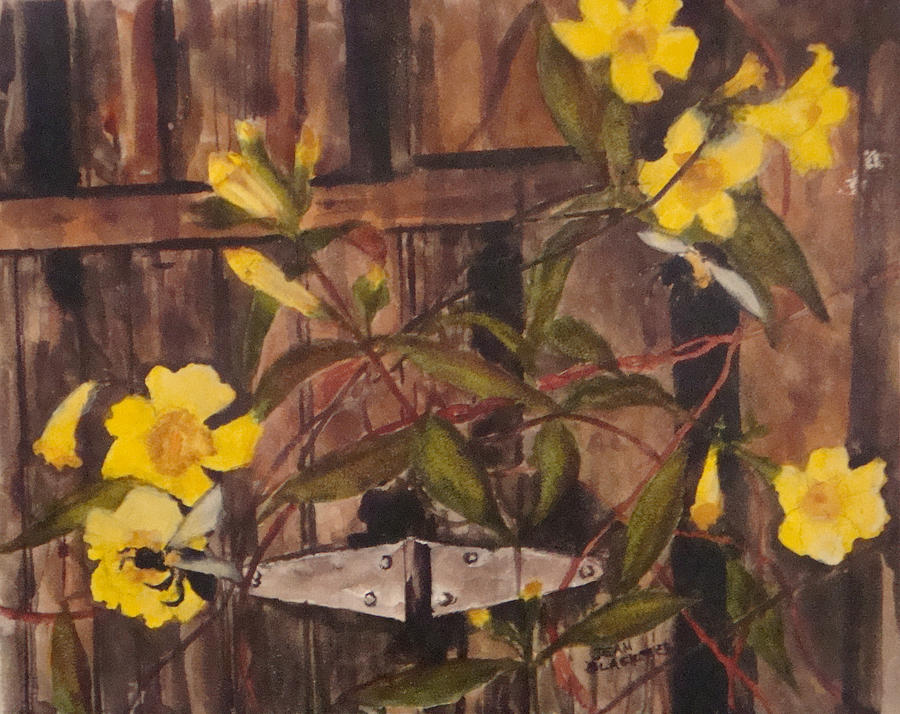 Flower Painting - Barn Door Hinge by Jean Blackmer