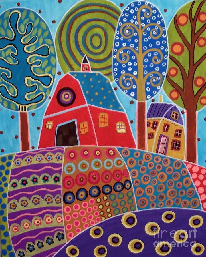 Landscape Painting - Barn Garden Landscape by Karla Gerard