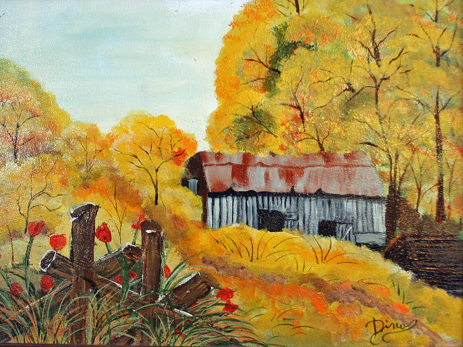 Painting Painting - Barn In Autumn by Dina Jacobs