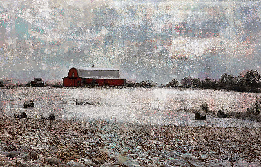 Barn in Snow by Joselyn Holcombe