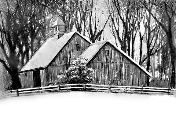 Barn Drawing - Barn In Winter by William Hay