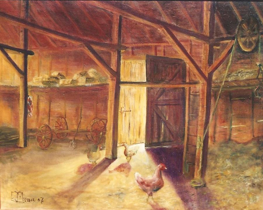 Chickens Painting   Barn Interior By Edward Merrell