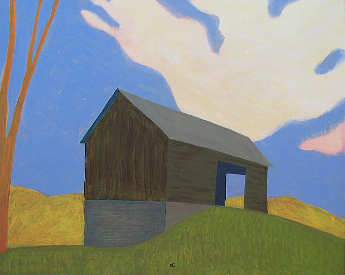 Southern Landscape Painting - Barn on Hill by Chris Cook