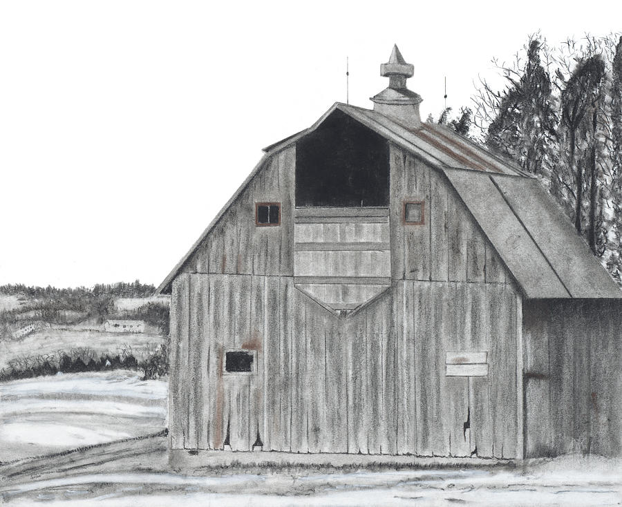 Barn On Hillside Drawing By Bryan Baumeister