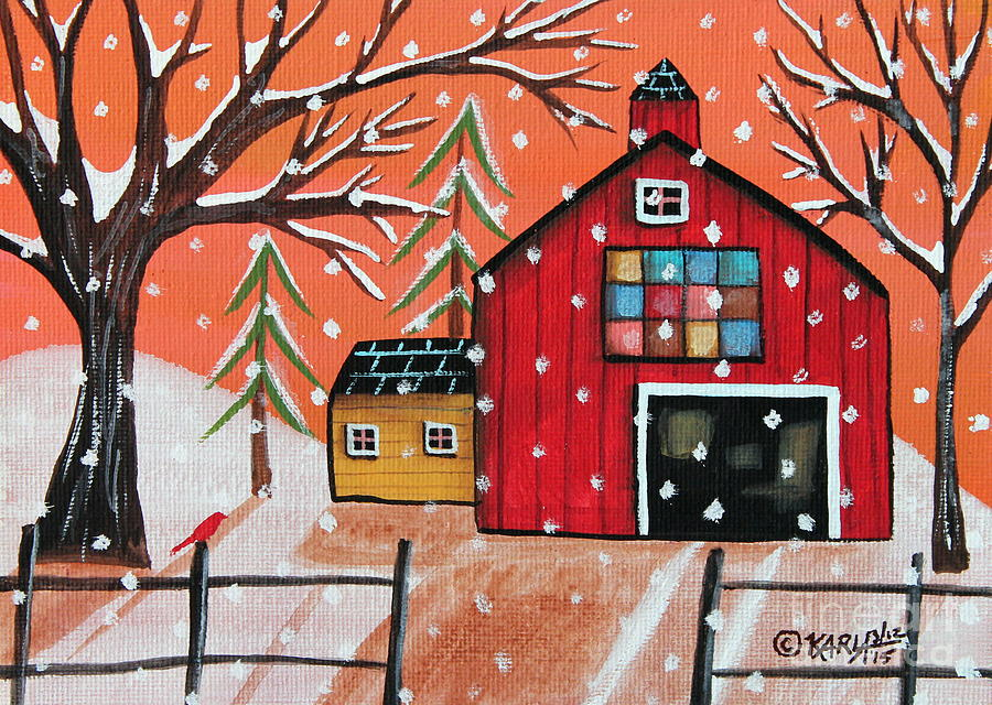 Landscape Painting - Barn Quilt by Karla Gerard