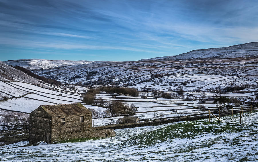 Barns Photograph - Barn View In The Snow. by Yorkshire In Colour