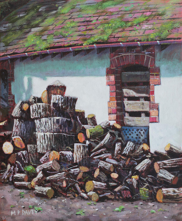 Logs Painting - Barn With Log Pile by Martin Davey
