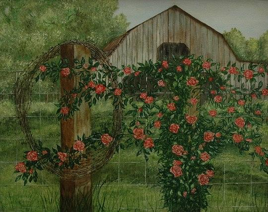 Barn Painting - Barn with Roses by Tresa Crain