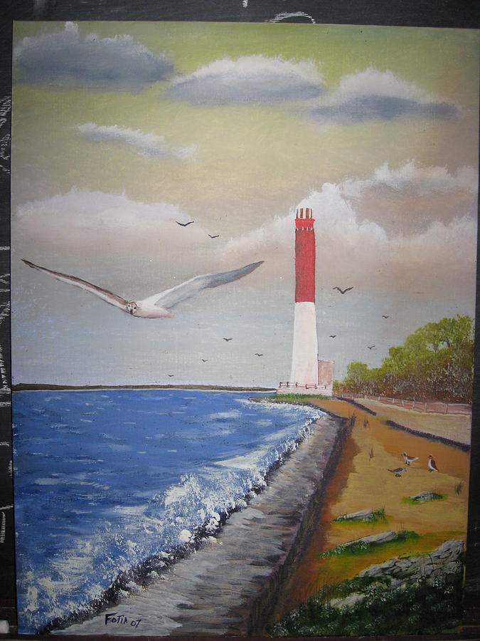 Lighthouse Painting - Barnegat Light by Rich Fotia
