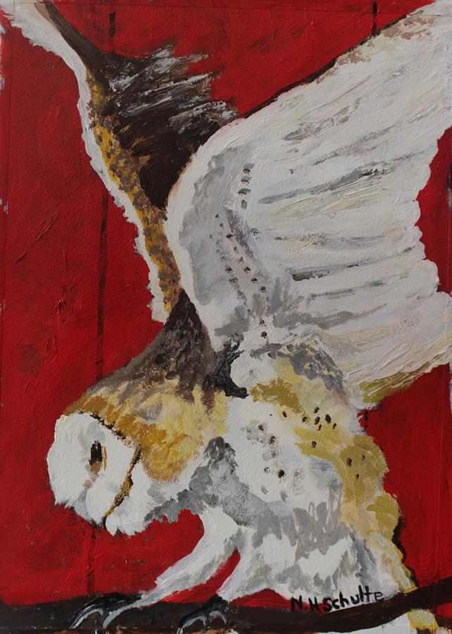 Owls Painting - Barney by Nancy Henkel Schulte