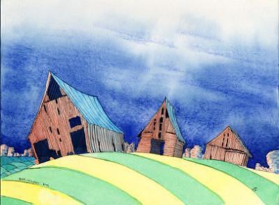 Barns Painting - Barns by Ian Mitchell