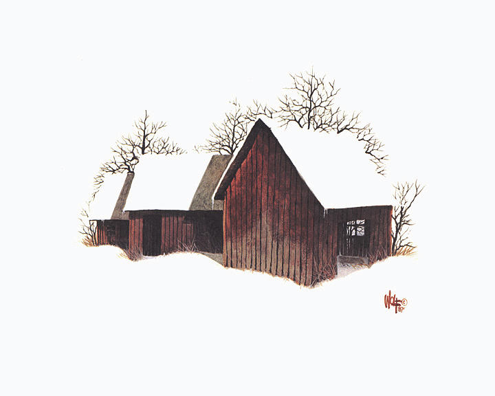 Barns In The Snow Painting by Ray Wolf