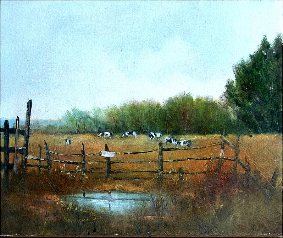 Cows Painting - Barnyard Chatter by Sally Seago