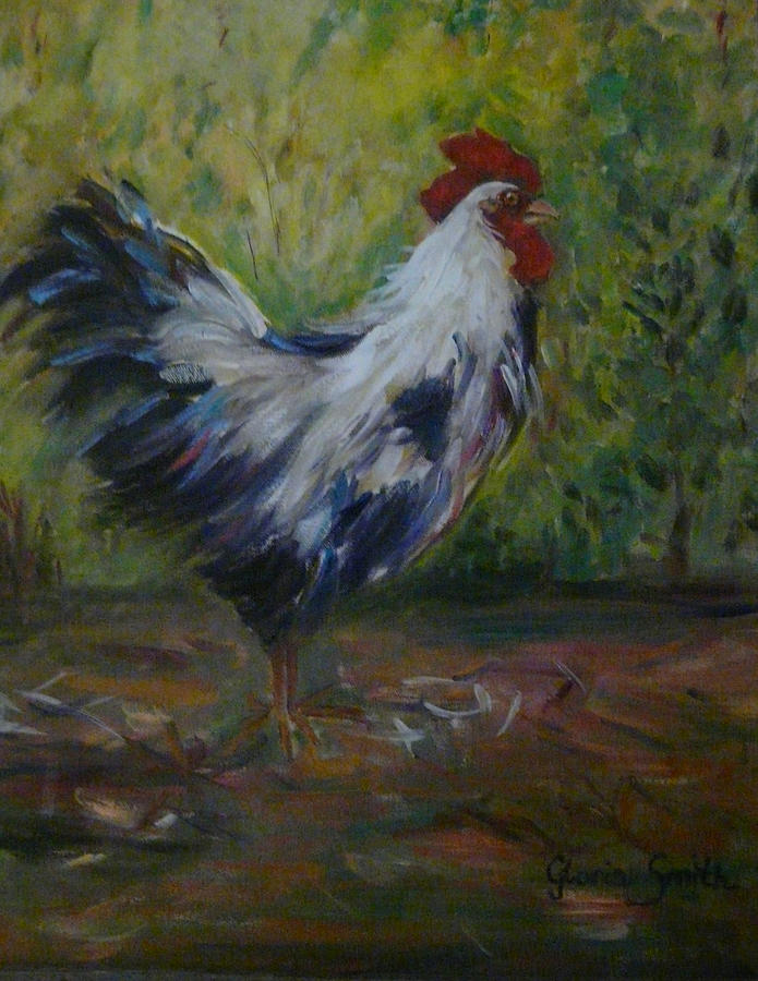 Chicken Painting - Barnyard by Gloria Smith