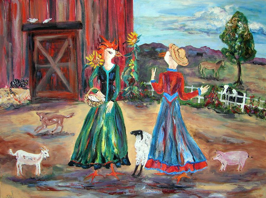 Barnyard Gossip Painting by Sarah Wharton White