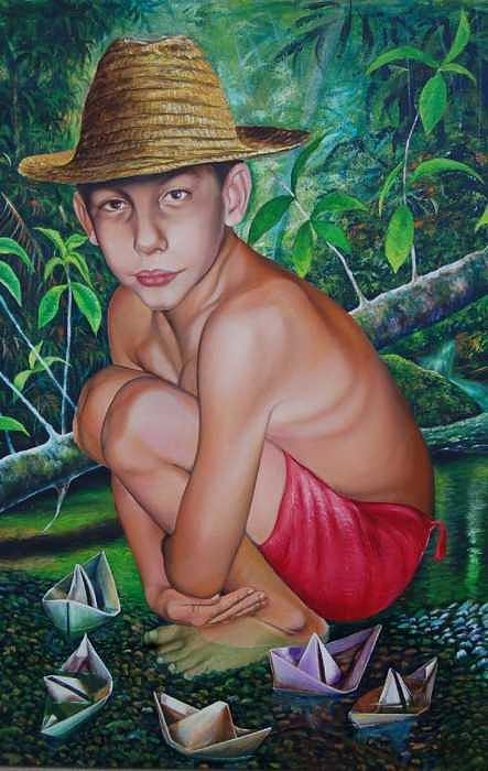 Barquito De Papel...   Painting by Arnaldo Ladron de Guevara
