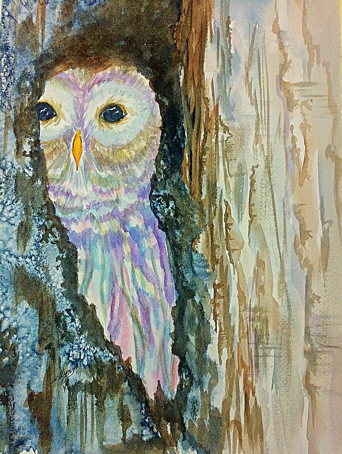 Barred Owl Inside A Tree Painting By Ellen Levinson
