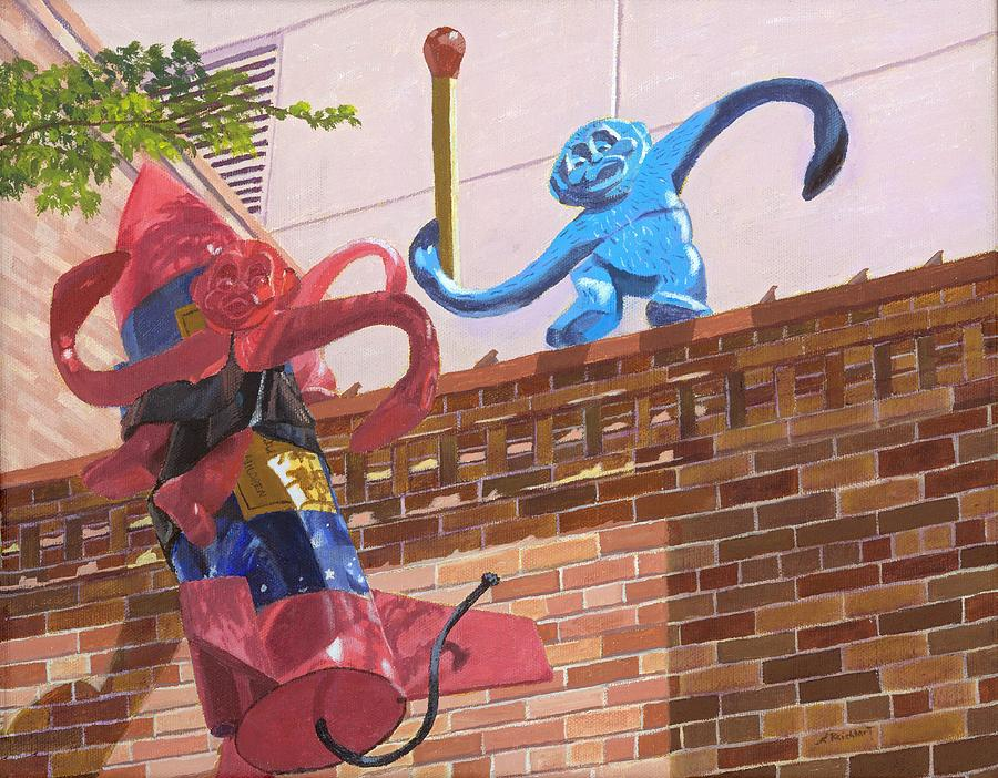 Monkeys Painting - Barrel of Fun by Lynne Reichhart