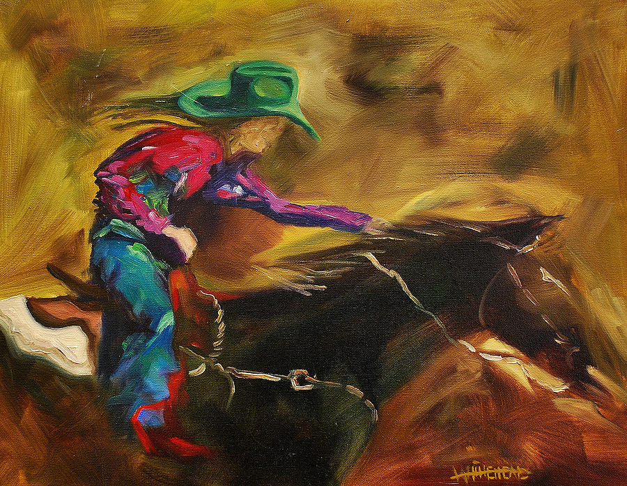 Woman Rider Painting - Barrel Racer by Diane Whitehead