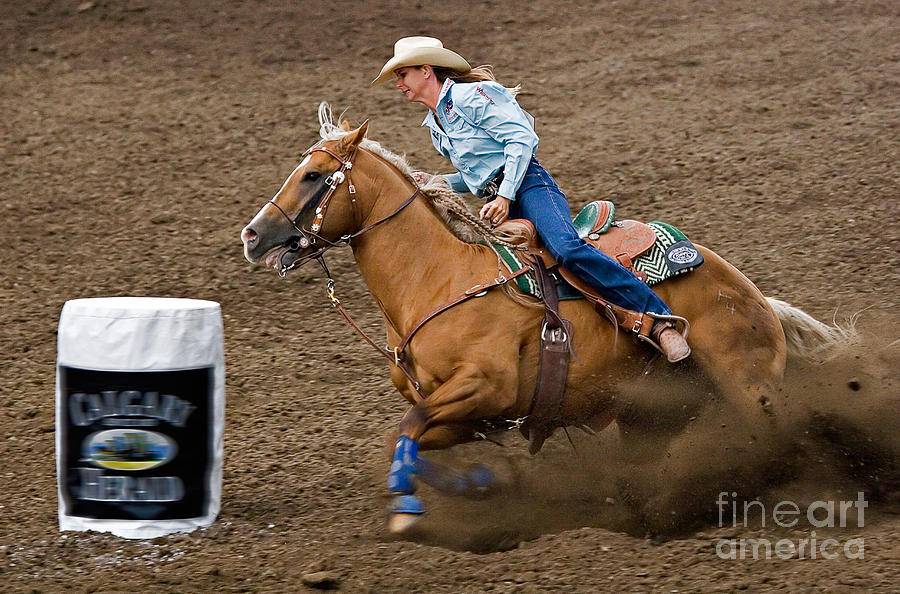 Race Photograph - Barrel Racing by Louise Heusinkveld