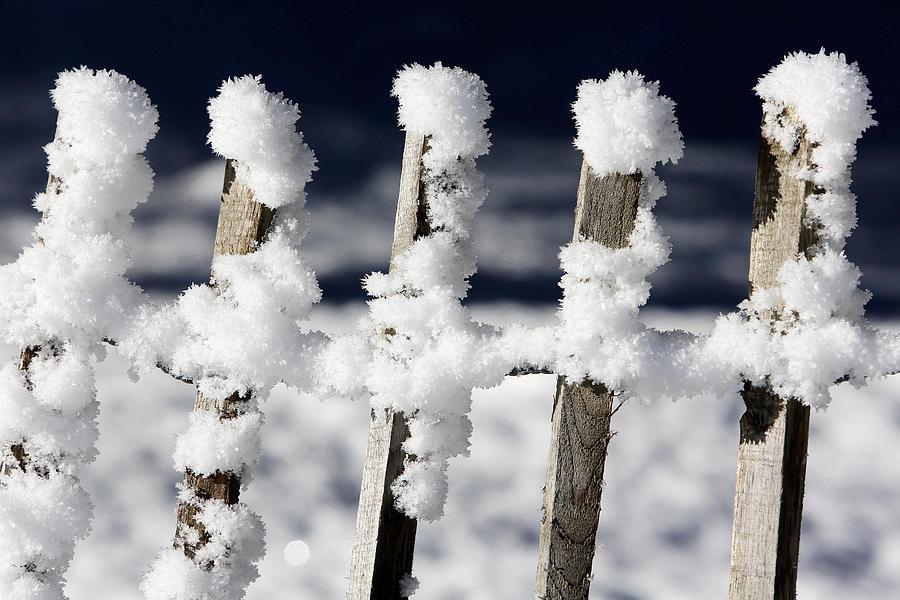 Europe Photograph - Barriere En Bois Recouverte De Neige Les Contamines Montjoie Haute Savoie by Catherine Leblanc