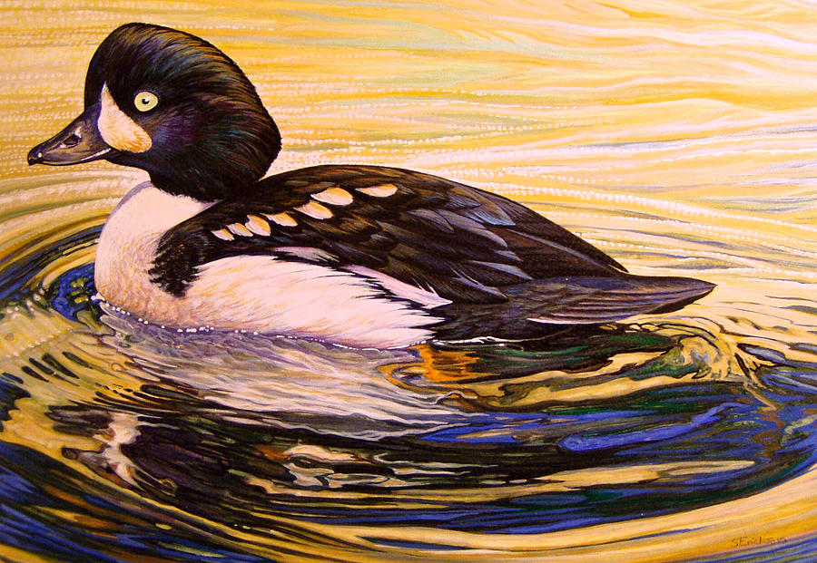 Barrows Goldeneye Painting - Barrows Goldeneye by Shari Erickson