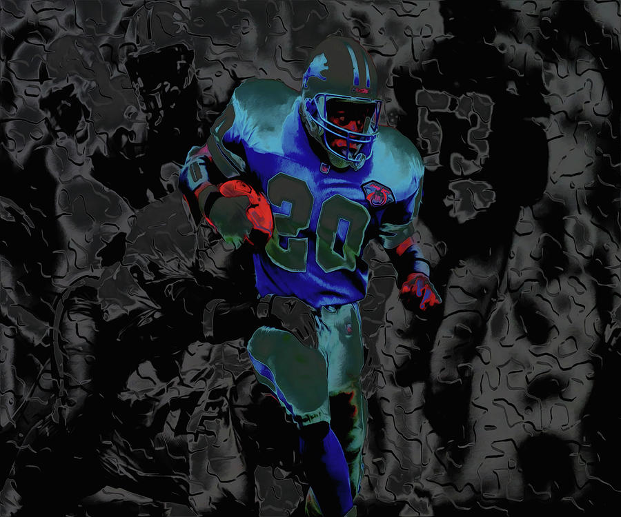Barry Sanders Mixed Media - Barry Sanders Breaking Out 4c by Brian Reaves