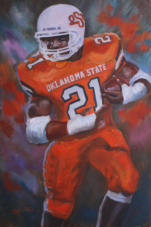 Barry Sanders Painting - Barry Sanders, Oklahoma State by Nora Sallows