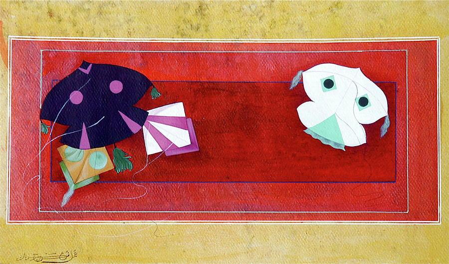Kites Flying Painting - Basant  by Farrah Mahmood Adnan