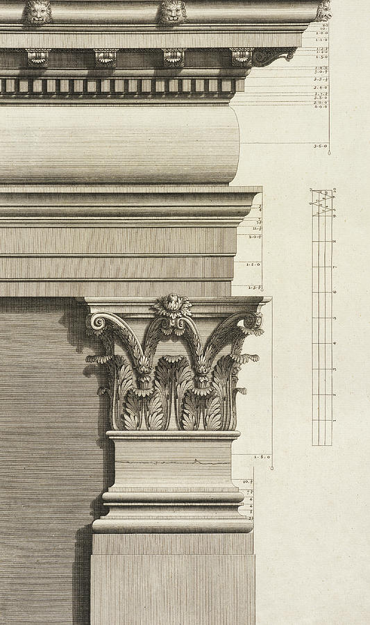 Base Capital And Entablature Of The Pilaster Drawing By Giovanni
