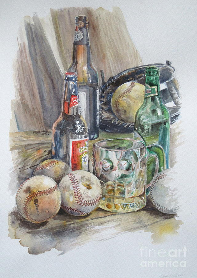 Watercolor Painting - Baseball And Beer by Karen Boudreaux