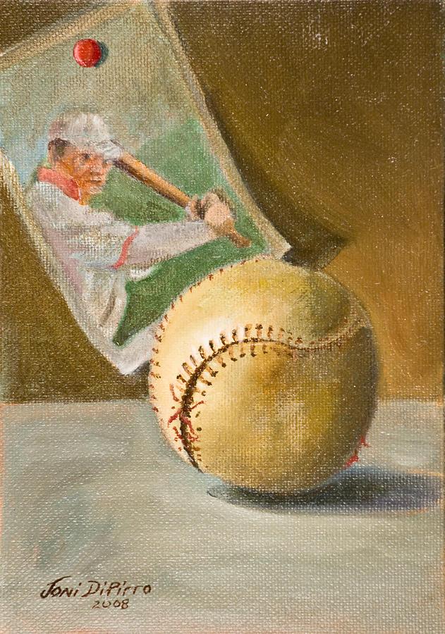 Sports Painting - Baseball And Card by Joni Dipirro