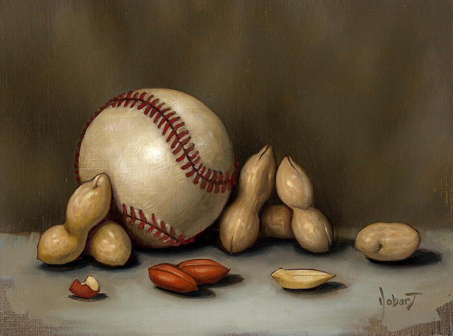 Baseball Painting - Baseball And Penuts by Clinton Hobart