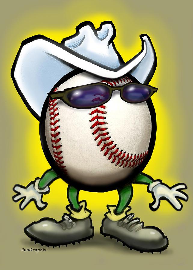 Baseball Greeting Card - Baseball Cowboy by Kevin Middleton