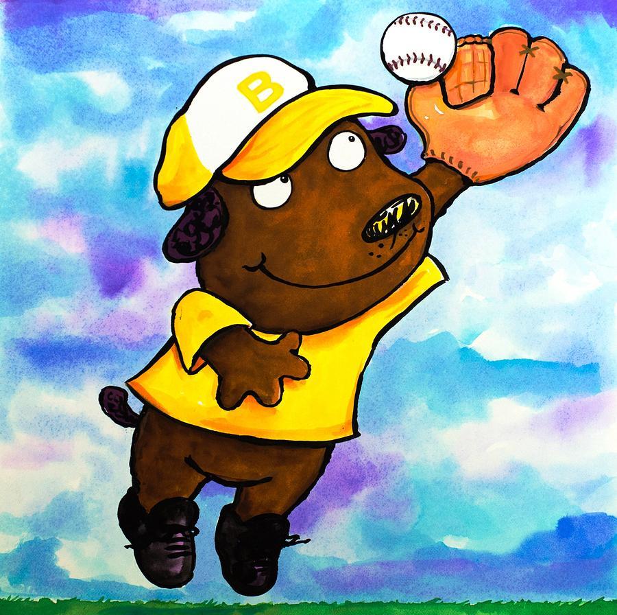 Dog Painting - Baseball Dog 4 by Scott Nelson