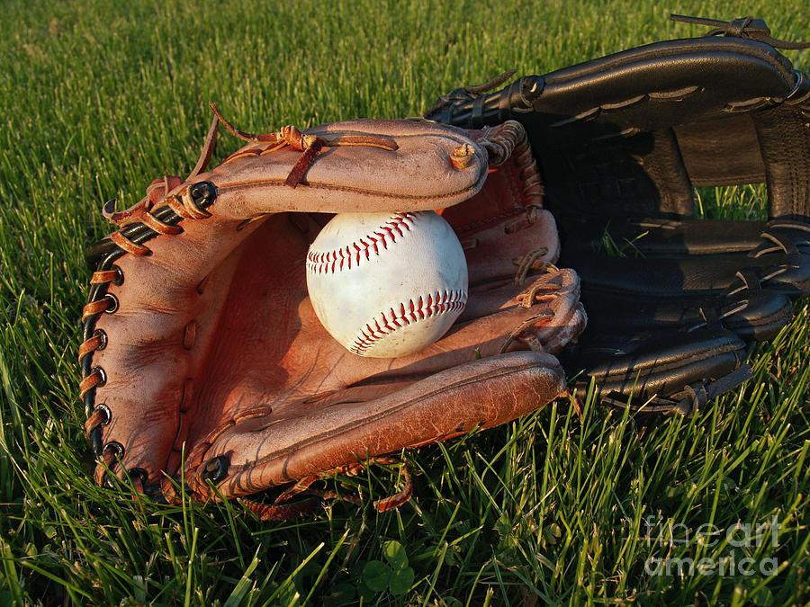 Baseball Photograph - Baseball Gloves After The Game by Anna Lisa Yoder