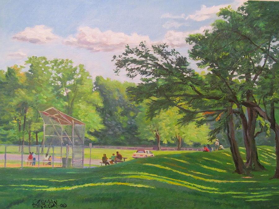 Landscape Painting - Baseball Park by German Zepeda