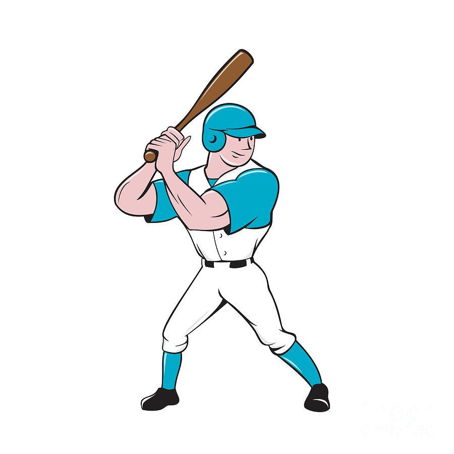 Baseball Player Batting Stance Isolated Cartoon Digital Art by ...