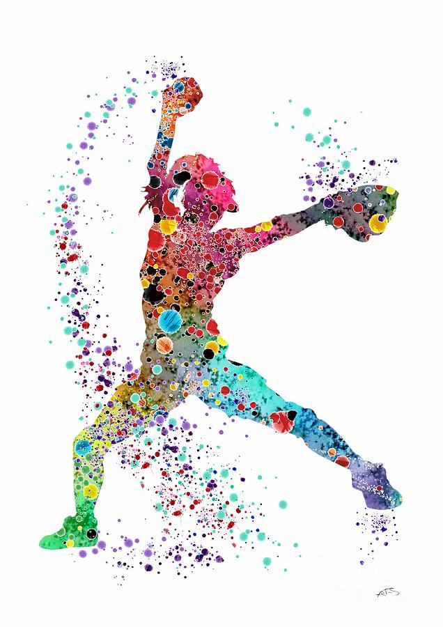 Baseball Softball Pitcher Watercolor Print Digital Art By