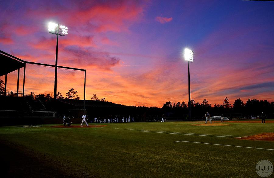 Baseball Pyrography - Baseball Sunset by Joseph Johns